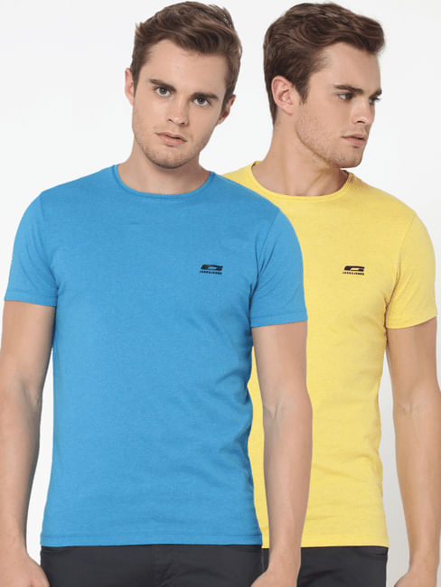 Pack Of Two Crew Neck T-Shirts- Yellow And Blue