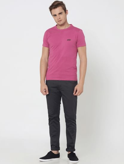 Pack Of Two Crew Neck T-Shirts- Pink And Black