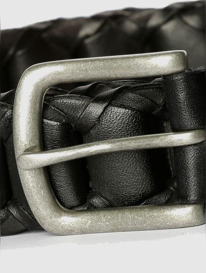 Black Pleated Leather Belt