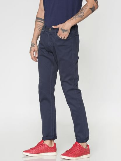 Navy Blue Low Rise Over Dyed Slim Fit Pants