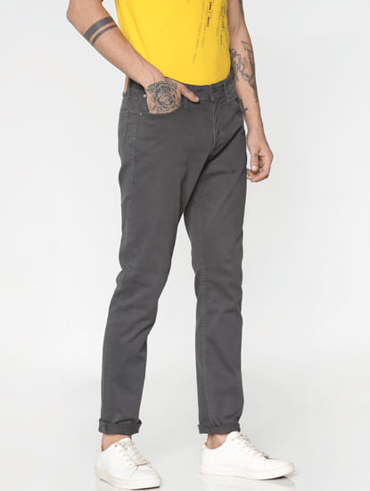 Grey Low Rise Over Dyed Slim Fit Pants