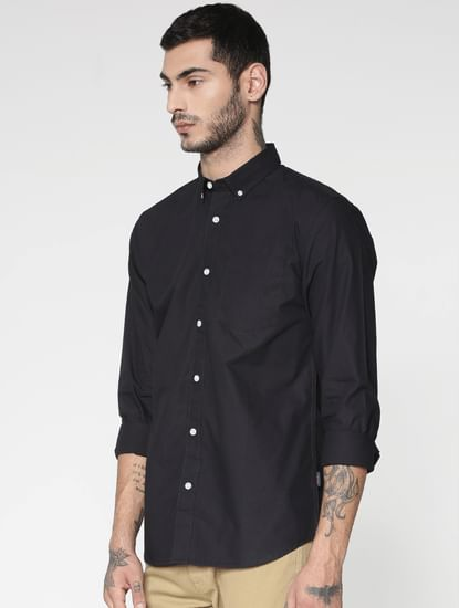 Black Slim Fit Full Sleeves Shirt