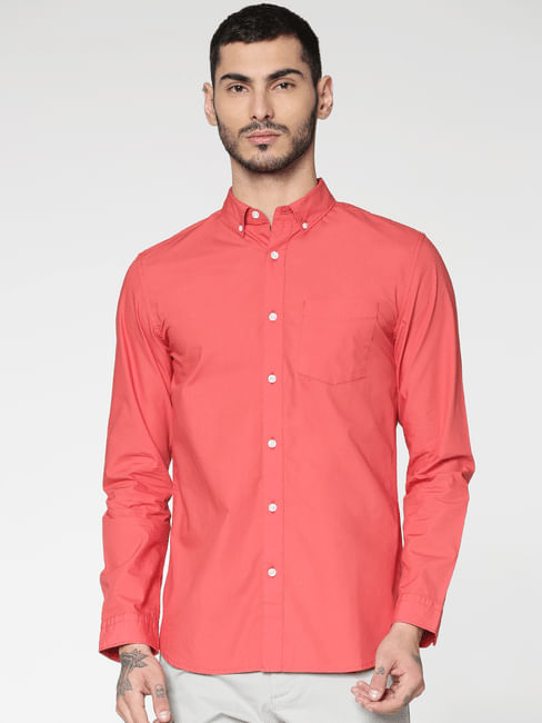 Red Slim Fit Full Sleeves Shirt