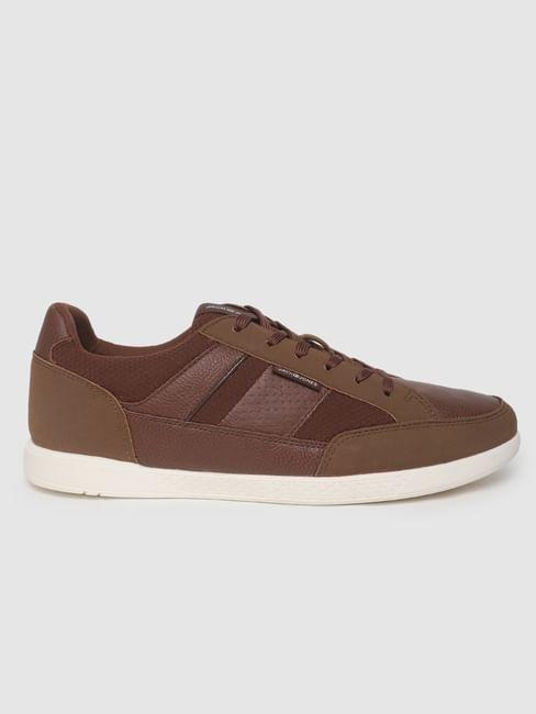 Brown Textured Sneakers