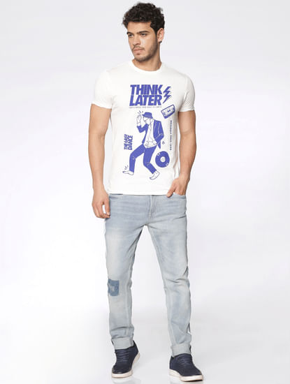 White Typographic Print Slim Fit Crew Neck T-Shirt