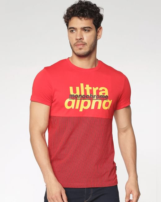 Red Text And Print Blocked Slim Fit Crew Neck T-Shirt