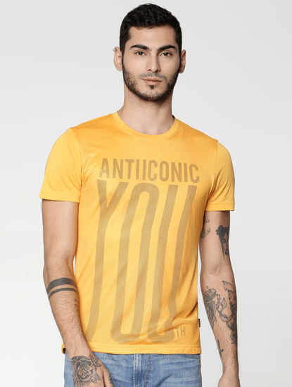 Yellow Text Print Slim Fit Crew Neck T-Shirt