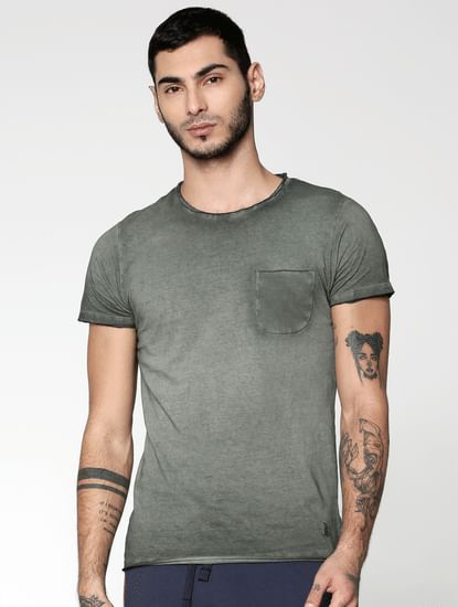 Green Washed Slim Fit Crew Neck T-Shirt