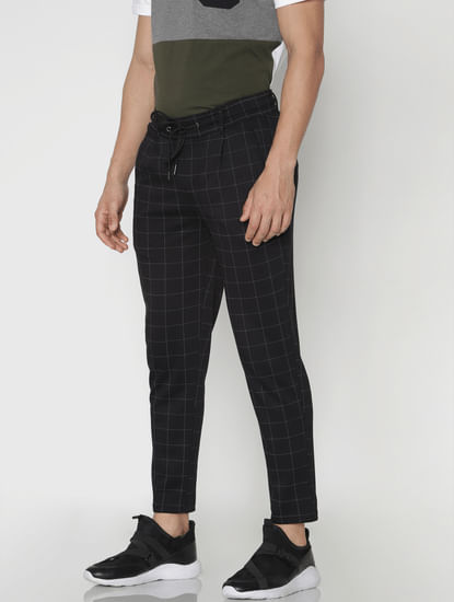 Black Check Drawstring Pants