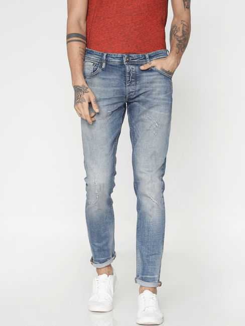 Light Blue Washed Glenn Slim Fit Jeans