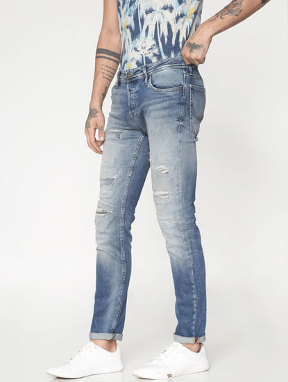 Light Blue Ripped Ben Skinny Fit Jeans