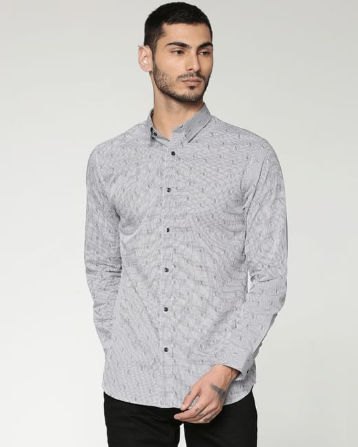 Grey All Over Printed Slim Fit Full Sleeves Shirt