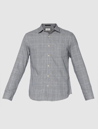 Grey Checks Slim Fit Full Sleeves Shirt