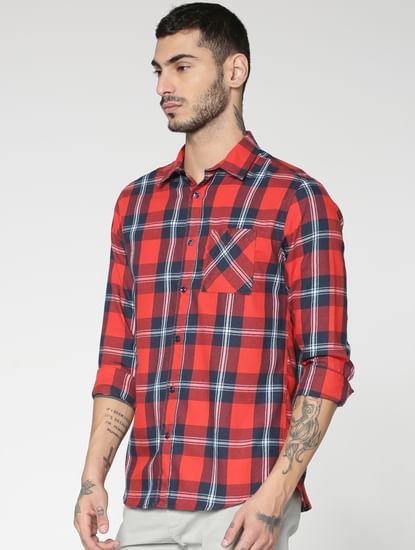 Red Checks Slim Fit Full Sleeves Shirt