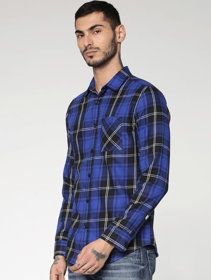 Blue Checks Slim Fit Full Sleeves Shirt