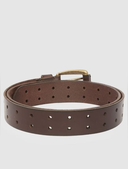 Brown All Over Perforated Leather Belt