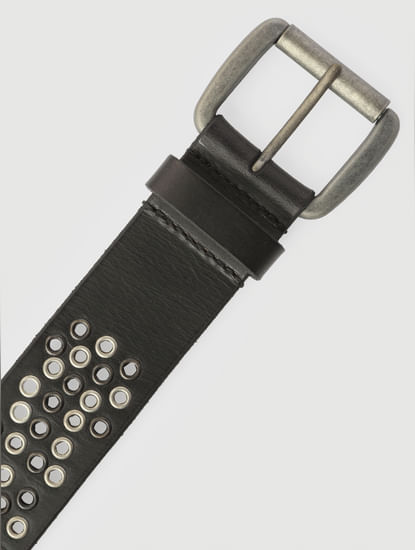 Black All Over Perforated Leather Belt
