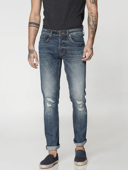 Blue Washed Tim Slim Fit Jeans
