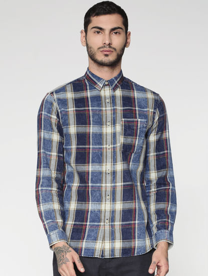Blue Multicoloured Washed Slim Fit Full Sleeves Shirt