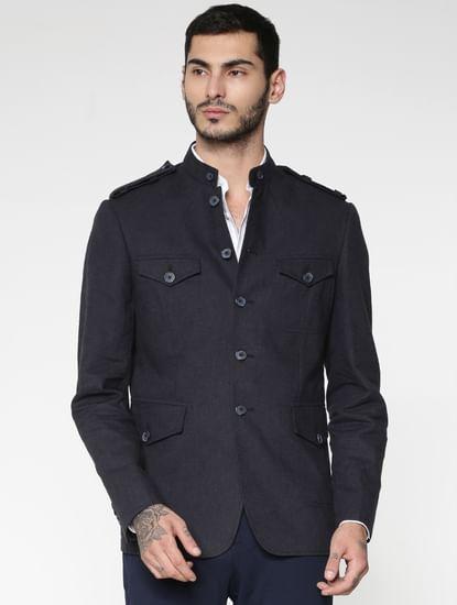 Navy Blue Mandarin Collar Slim Fit Blazer