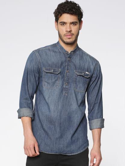 Blue Washed Effect Full Sleeves Denim Shirt