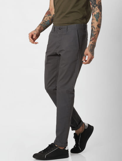 Grey Mid Rise Pants