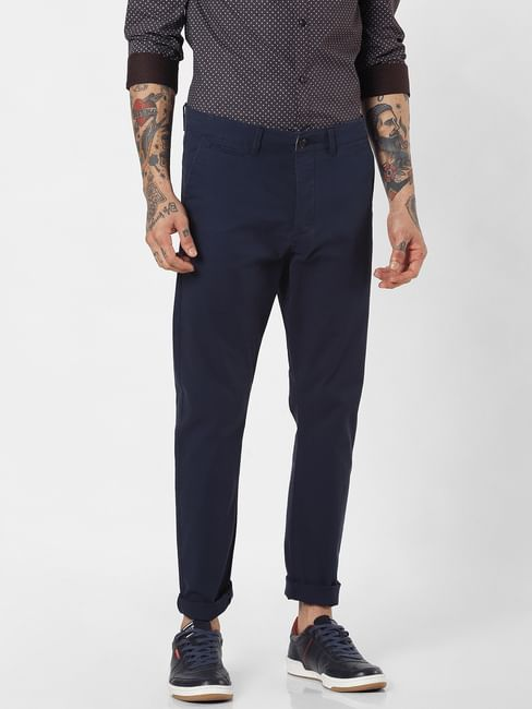 Navy Blue Mid Rise Pants