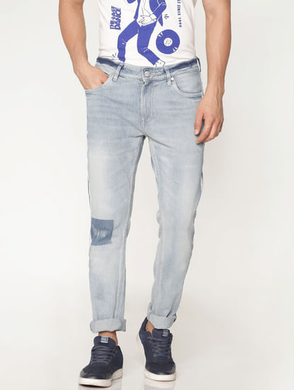 Light Blue Side Tape And Knee Patch Detail Washed Ben Skinny Fit Jeans
