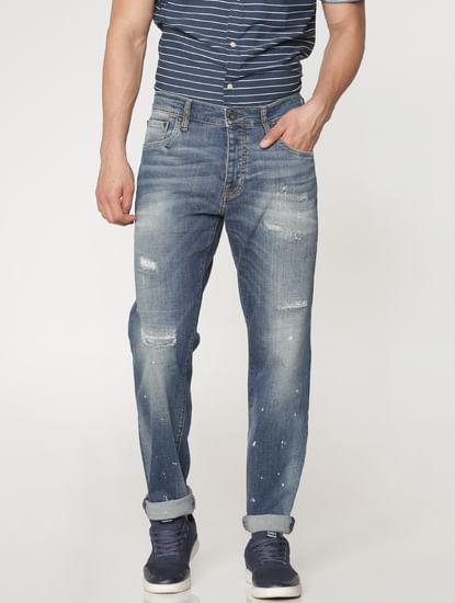 Blue Mildly Distressed Mike Regular Fit Jeans