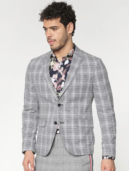 Grey Checks Double Button Blazer
