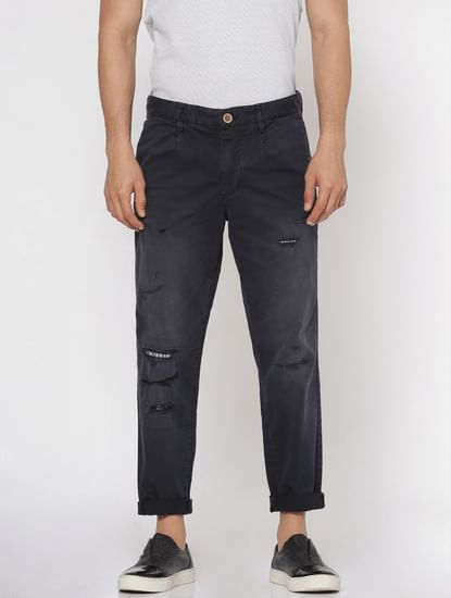 Navy Blue Ripped Anti Fit Pants