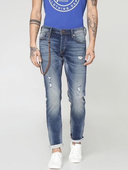 Dark Blue Ripped Tim Slim Fit Jeans