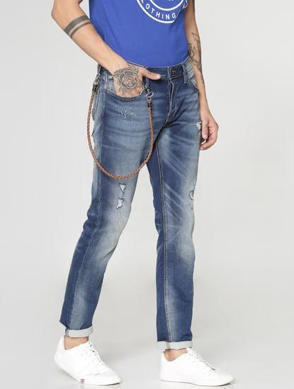 Dark Blue Ripped Tim Slim Fit Jeans