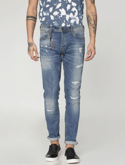 Blue Highly Distressed Glenn Slim Fit Jeans