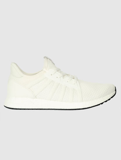 White Mesh Detail Sneakers