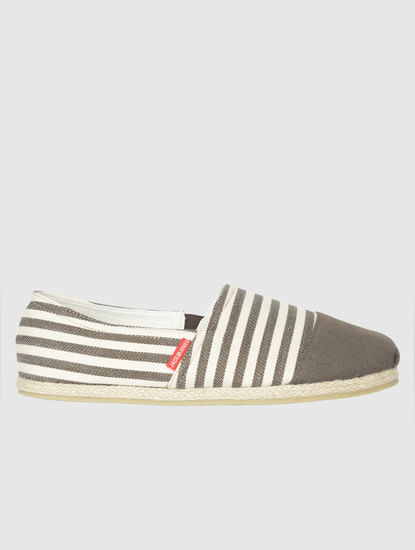 Brown Striped Slip On Espadrilles