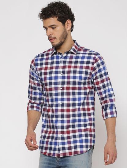 Blue Checks Slim Fit Full Sleeves Shirt