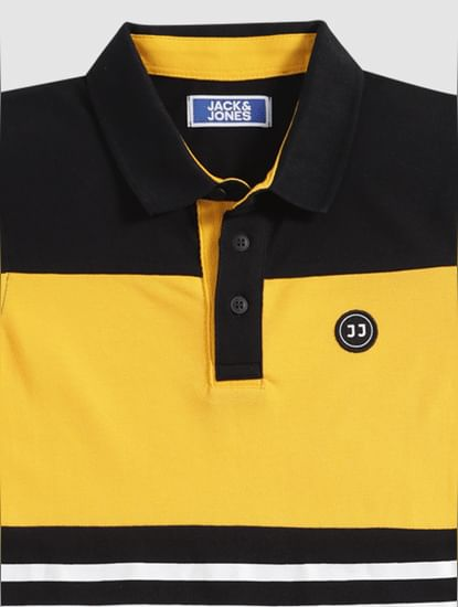 Boys Black Colour Blocked Polo Neck T-Shirt