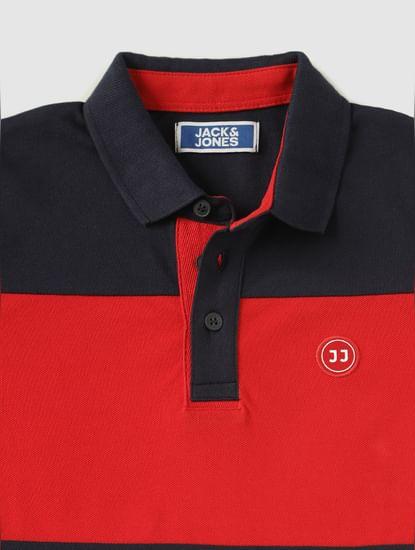 Boys Navy Blue Colour Blocked Polo Neck T-Shirt