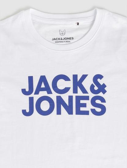 Junior White Text Print Crew Neck T-Shirt