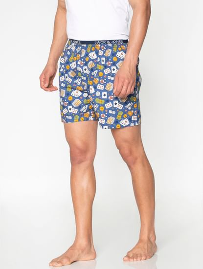 Blue All Over Poker Game Graphic Print Boxers