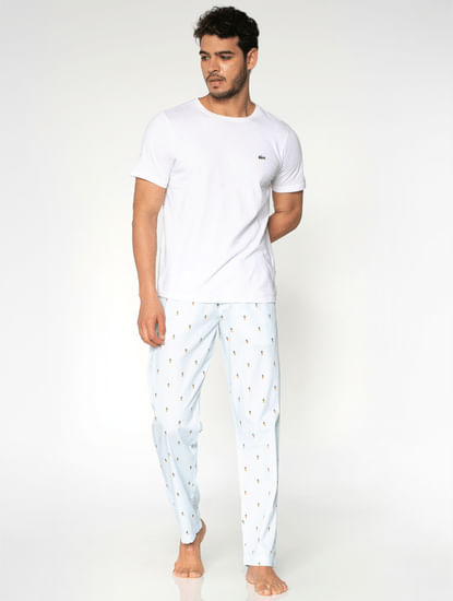 White All Over Pineapple Print Pyjama