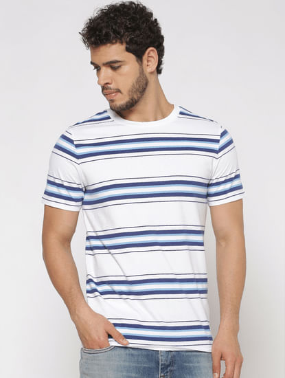 White Striped Slim Fit Crew Neck T-Shirt