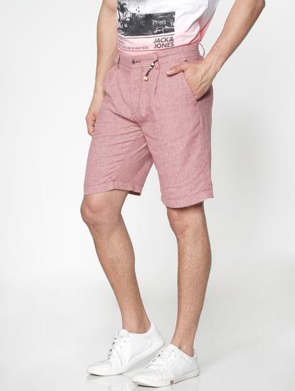 Red Textured Chino Shorts