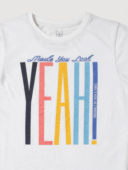 Junior White Text Print Slim Fit Crew Neck T-Shirt