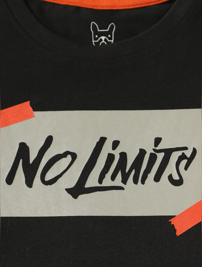 Junior Black Text Print Slim Fit Crew Neck T-Shirt