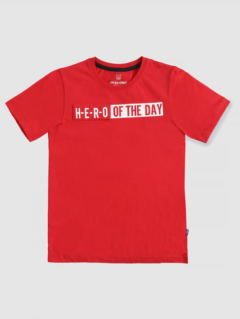 Junior Red Text Print Slim Fit Crew Neck T-Shirt
