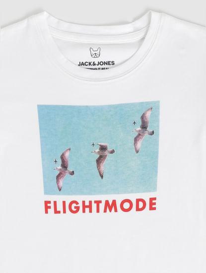 Boys White Graphic Print Crew Neck T-Shirt
