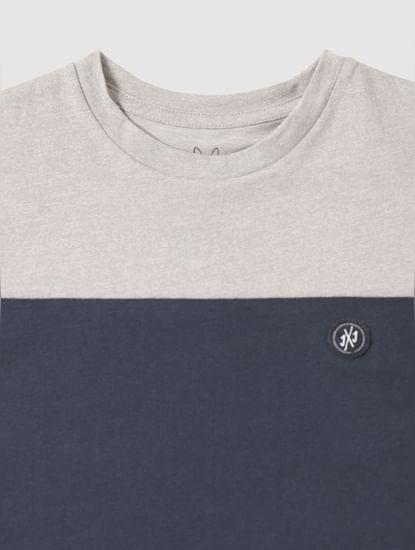 Junior Grey Colour Blocked Slim Fit Crew Neck T-Shirt
