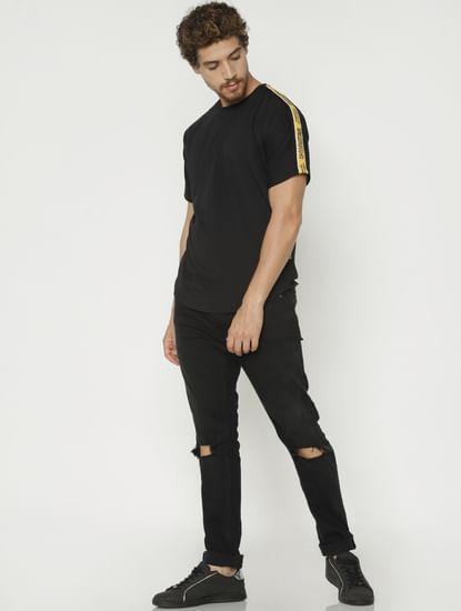 Black Tape Detail Crew Neck T-Shirt